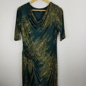 Nine west  cowl neck faux wrap green gold dress